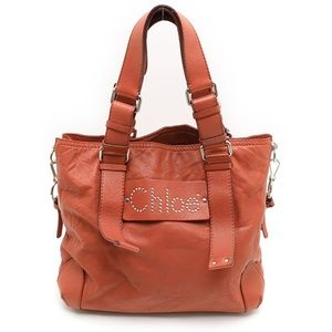 Chloe Red Leather Shoulder Tote Bag Stunning